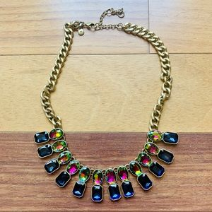 J.Crew Navy Multicolor Gemstone Statement Necklace